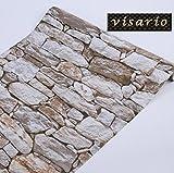 Visario Tapeten Folie selbstklebend 10m x 45cm 5 Motive Steinoptik Steine Dekorfolie Möbelfolie