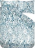 DESIGNERS GUILD Bettwäsche Arabesque Indigo Satin blau-wollweiß Größe 155x220 cm (80x80 cm)