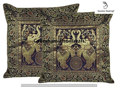 ganesham Handwerk-Hippie Ethnic Traditionelle Kissenbezug Boho Chic Bohemian Couch werfen Kissen Fall indischen Kissen Einsatz Deko handgefertigt Vintage Elefant aus Seide Hand Stickerei Kissenbezug