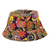 Wawer Outdoor Bucket Hat, Unisex Flower Print Adjustable Cap Fisherman Hat Boonie Hunting Fishing Wide Cap Brim Military Canvas Lightweight Breathable Hat (B-2)