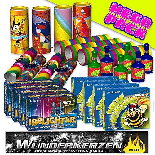 Preisvergleich Produktbild Silvester Feuerwerk Set PartyFun 47-tlg.: Tischbomben, Wilde Hummel, Partyknaller, bunte Luftschlangen & Co. - jugendfreies Feuerwerk Partydeko