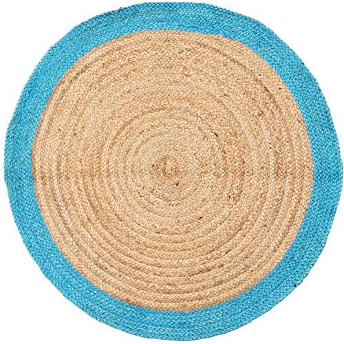 Handgewebter runder Jute Teppich 120 cm groß Luna Natur Blau | Outdoor Teppiche Rund geflochten für Garten oder Balkon | Indoor im Wohnzimmer Kinderzimmer | Mediterrane Deko für Ihre Wohnung - Jute-teppich Oval