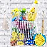 Wemk Cuarto de baño de almacenamiento de juguete de almacenamiento de red Bolsa de juguete con 4 ganchos autoadhesivos robustos y esponja de ducha
