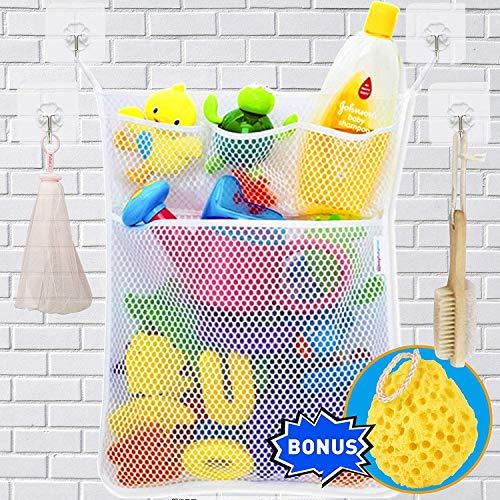 Wemk Bad Spielzeug Organizer Bad Spielzeug Netz Badespielzeug Lagerung Badewanne Spielzeugnetz mit 4 Selbstklebend Haken & Badeschwamm - 5' Wand