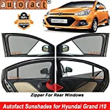 #5: Autofact Half Magnetic Window Sunshades/Curtains for Hyundai Grand I10 [Set of 4pc - Front 2pc Half Without Zipper ; Rear 2pc Full with Zipper] (Black)