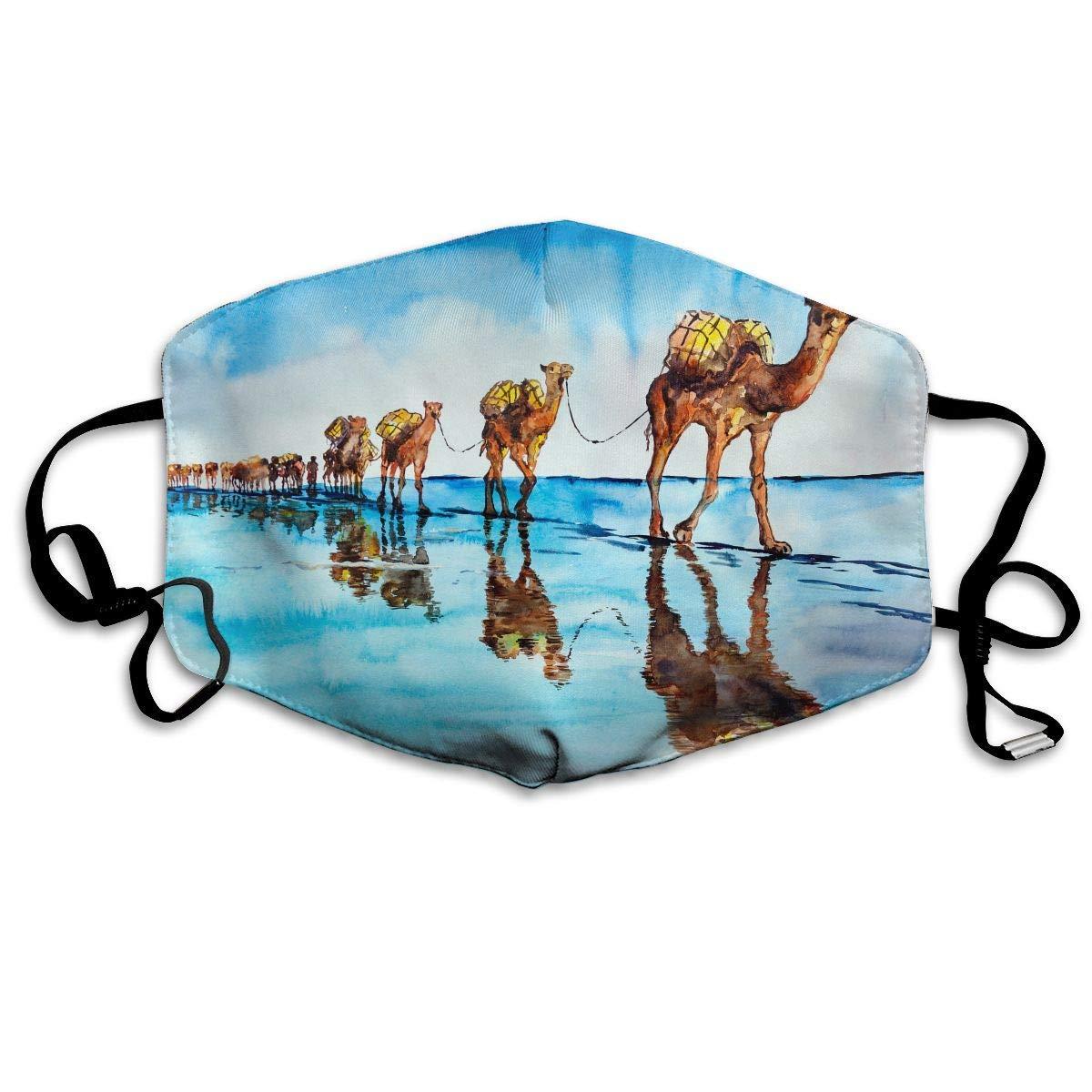 Daawqee Máscara de Boca, Antipolvo Cubierta de Boca Caravan of Camels Print Reusable Washable Earloop Máscara de Boca for Men Women