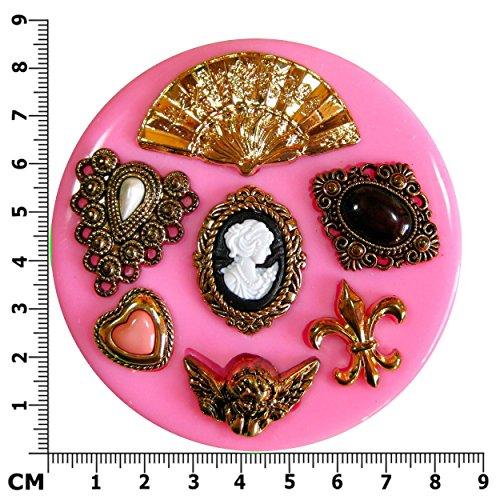 weinlese-viktorianische-miniatur-brooch-fleur-de-lys-cherub-silikon-form-fur-kuchen-dekorieren-kuche