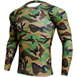 Men's Long Sleeve Sports Compression Shirt Lightweight Compression Fitness Top Quick-Drying Camouflage Stylish Tops Comfortab