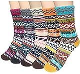 Wollesocken, Damen Socken Winter 5 Paar atmungsaktiv warm weich bunte Farbe Premium Qualität klimaregulierende Wirkung (Textilien)