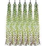 cherrboll Künstliche Pflanzen, 6 Stück, hängende Weinrebe, künstliche grüne Blätter, echte Haptik, künstliche Grünpflanzen, Sprays für Zuhause, Garten, Party, Blumendekoration Grün/Rot