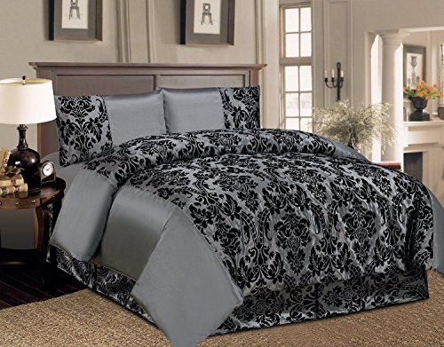 Homes & Deco 4 Komplett Bettwäsche-Set Damast Polyester Taft mit Mikrofaser Schwarz Flock Quilt Bettbezug Schlafzimmer Set König und Double Größe mit Faltenvolant, Kelly Grey, King Bed Size