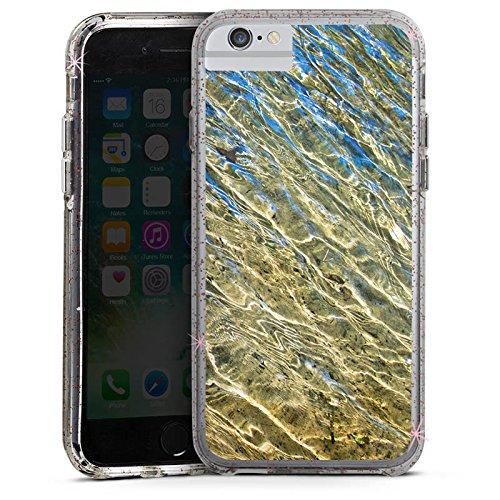 Apple iPhone X Bumper Hülle Bumper Case Glitzer Hülle Wasser Water Struktur Bumper Case Glitzer rose gold