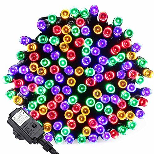 Qedertek Guirlande Lumineuse Électrique, Décoration pour Arbres de Noël, 20M 200 LED Multicolore 8 Modes d'éclairage avec Fonction Minuterie et Mémoire