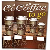 2 x Coffee to go - Kaffee Poster / Plakat DIN A1 Werbung für Cafes