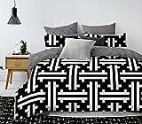200x220 cm Bettwäsche mit 2 Kissenbezügen 80x80 weiß schwarz Bettbezüge Microfaser Bettwäschegarnituren geometrisches Muster black white Hypnosis Column