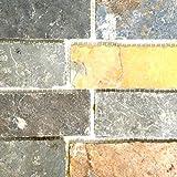 Mosaik Fliese Schiefer Naturstein Brick braun rost für BODEN WAND BAD WC DUSCHE KÜCHE FLIESENSPIEGEL THEKENVERKLEIDUNG BADEWANNENVERKLEIDUNG Mosaikmatte Mosaikplatte