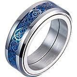 ALXTINA خاتم دوار من ألياف الكربون والتنين السلتي 8 مم للرجال خاتم الزفاف الأزرق