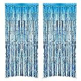 2 Pezzi Tende a Frange Foil Curtain Frange Finestre Tende per Le Decorazioni Feste (Azzurro)