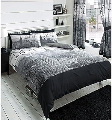 Juego de funda nórdica y funda de almohada reversible, diseño Nueva York, en blanco y negro