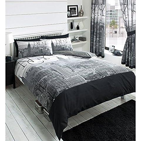 Just Contempo Clearance Unique avec housse de couette Taie d'oreiller, 135x 200cm, Polycoton, New York Skyline - Black, Simple