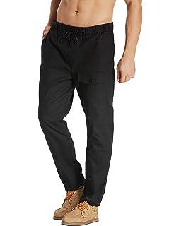MODCHOK Homme Pantalons Jogging Long Pants Loose Coupe Droite Lin Coton  Sport Décontracté 810d1de4f93