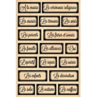 Florilèges Design FHA214096 - Timbro per scrapbooking, fantasia: etichette per matrimonio, 15 x 10 x 2,5 cm, colore: beige [lingua francese]