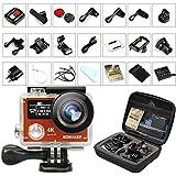 Caméra Sport 4K, GooBang Doo Caméra d'Action Étanche avec Double Écrans WiFi 14MP Ultra HD, Mini Caméscope Sportive avec Télécommande, 2 Batteries Rechargeables et Kits d'Accessoires