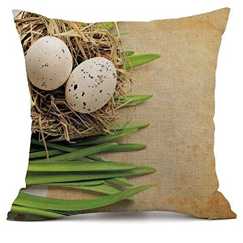 Hase und Ei Drucken Leinen Baumwoll 45 × 45 lässig Kissenbezug Ostern Kopfkissenbezug JMETRIC Zierkissen Schutzbezüge(D)