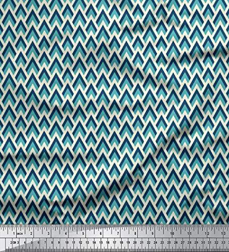24388a474150 Soimoi Geometrische Printed 42 Zoll breit durch Das Messgerät Viscose  Chiffon Stoff 55 GSM - Türkis