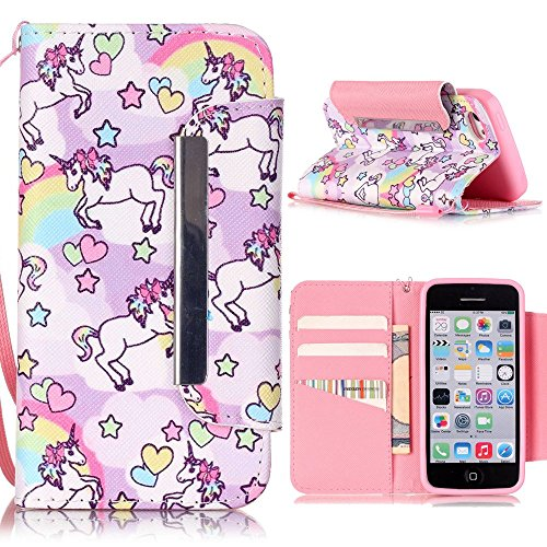 iPhone 5C Hülle - Einhorn Linvei® Flip Ledertasche Protective Case Schutzhülle für iPhone 5C Tasche Wallet Case Cover (Rosa) (Wallet Case 5c)