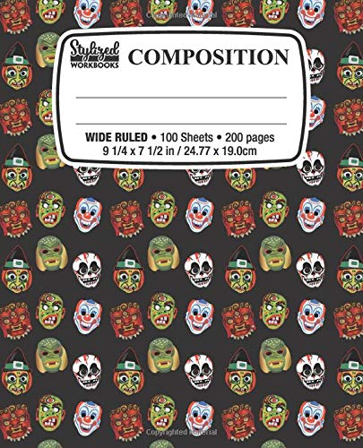 Composition Notebook: Vintage Mask: Wide Ruled • 100 Sheets • 200 Pages • 9 1/4 x 7 1/2 in. / 24.77 x 19.0cm for School Office Home Student Teacher Use