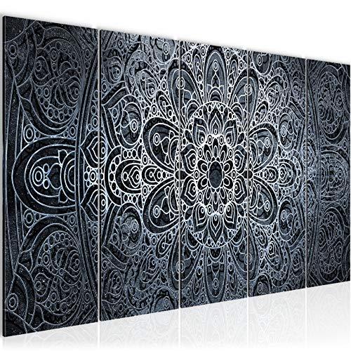 Bilder Mandala Abstrakt Wandbild 200 x 80 cm Vlies - Leinwand Bild XXL Format Wandbilder Wohnzimmer Wohnung Deko Kunstdrucke Blau 5 Teilig - MADE IN GERMANY - Fertig zum Aufhängen 109455c
