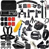 Soft Digits 50 en 1 Accesorio para GoPro Hero 5 4 3+ 3 2 1, Kit de Accesorios para SJ4000 SJ5000 SJ6000, Accesorios de la Cámara de Acción para Xiaomi Yi en Paracaidismo Natación Remo Surf Esquí Escalada Correr Montar en Bicicleta que Acampa de Buceo
