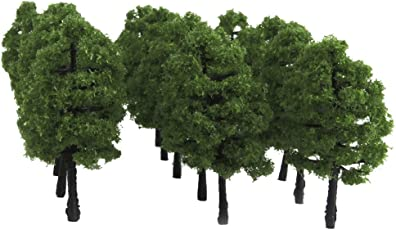 20pcs Plastic Model Trees Train Railroad Scenery 1:100 Dark Green