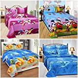 Shop4indians Super Saver Combo Pack Of 4, 3D Glace Cotton Double Bed Sheets With Pillow Covers