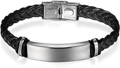 JewelryWe Schmuck Edelstahl Leder Armband Armreif Manschette Geflochten Schwarz Gravur