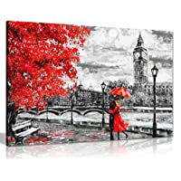 London Oil Painting Artwork Reproduction Big Ben Red Umbrella Canvas Wall Art Picture Print (36X24)