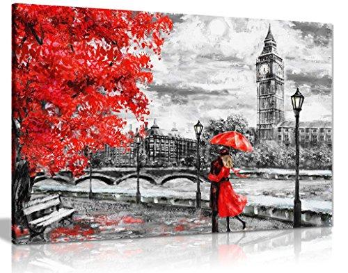 Reproducción pintura óleo Big Ben Londres paraguas