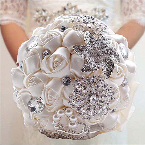 Künstliche Strass Brosche Pearl Bouquets Brides Hand mit Blumen Hochzeit Dekoration liefert