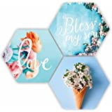 SAF Love Blessing Soul with Preety Flower and Leaf in Cone Pot 3 Piece of Hexagon UV Textured Multi-Effect Self adheshive Pai
