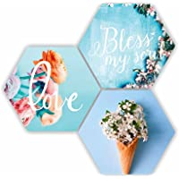 SAF Love Blessing Soul with Preety Flower and Leaf in Cone Pot 3 Piece of Hexagon UV Textured Multi-Effect Self…