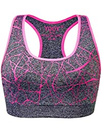PADDEGY Prueba de Golpes de Mujeres Sujetador Deportivo Engrosamiento de Inserción Elástica Transpirable Chaleco Fitness Ropa