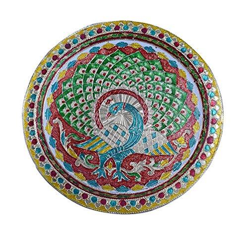 Karwa Chauth/Karva Chauth spécial décoratifs Pūjā/Pooja Thali/Plateau avec belle Paon Motif pour Temple hindou Rituels, Mandira Temple–accessoire Cadeau Diwali, Pujan, Deepawali Décoration...