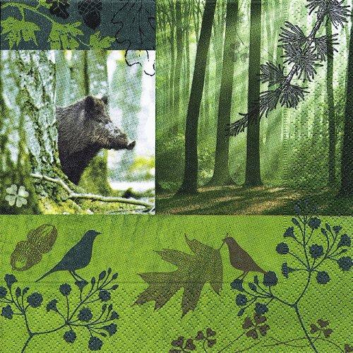 20 Servietten Forest in Fall - Wald im Herbst/Waldtiere/Tiere/Wald/Wildschwein 33x33cm - Servietten Fall