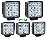 Greenmigo 5pcs 48W 12V 24V LED Faro de Trabajo,Foco para Tractor Carro Coche,Impermeable y Brillante