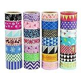 UOOOM Multi-pattern Washi Tape Ruban Adhésif Papier Décoratif Masking tape Scrapbooking (20 modéles)