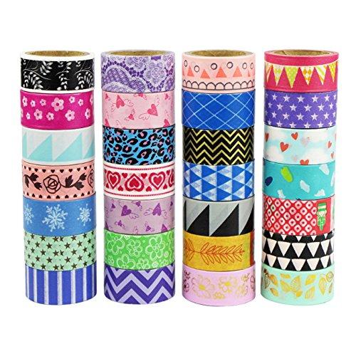 UOOOM Multi-pattern Beautiful Washi Tape Masking Tape deko klebeband buntes Klebebänder DIY scrapbook deko (10 x Patterns)