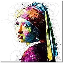 VERMEER POP , cuadro en lienzo , Patrice Murciano , impresa sobre lienzo artista , 90 cm x 90 cm , impresion digital de alta calidad , Giclee , enmarcado en bastidores de madera con colgador , Pop Art , Cyber-arte , Punk, arte moderno , imagen para colgar directamente en la pared