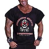 Muscle Alive Uomo Culturismo Men Rag Top Allenamento Spugna di Coton