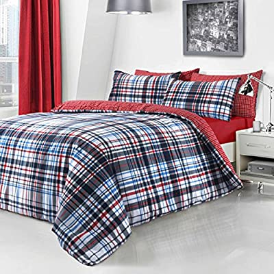 Duvet Cover and Pillowcase Set Quilt Bedding Set With Pillow Cases Single Double King Super King Size Printed Check Textured Stripe Reversible - cheap UK light store.